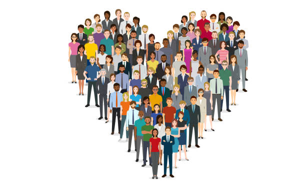 Crowd of people in the shape of a heart vector art illustration