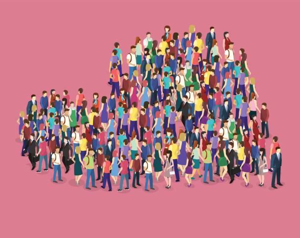 crowd of people in the shape of a heart - duża grupa obiektów stock illustrations