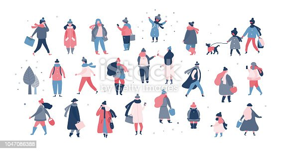 Crowd of people in warm winter clothes walking on street, running, going to work, talking on phone. Women and men with children in outerwear performing outdoor activities isolated on white background. Vector illustration in flat style