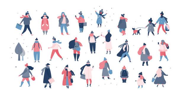 bildbanksillustrationer, clip art samt tecknat material och ikoner med skara människor i varma vinterkläder promenader på gatan, kommer för att fungera, prata telefon - cold street