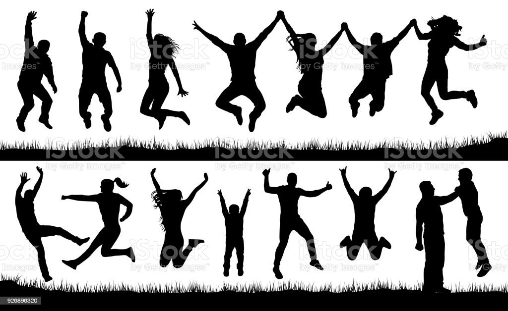 Crowd of people jumping, friends man and woman set. Cheerful girl and boy silhouette vector collection - Royalty-free Adult stock vector