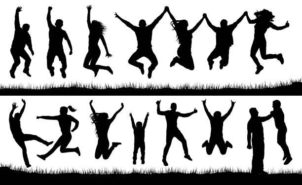 crowd of people jumping, friends man and woman set. cheerful girl and boy silhouette vector collection - jumping stock illustrations