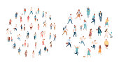 Different walking and running people. Male and female. Flat vector characters isolated on white background.