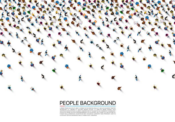 stockillustraties, clipart, cartoons en iconen met een menigte van mensen op een witte achtergrond, business cover. vectorillustratie - grote groep mensen