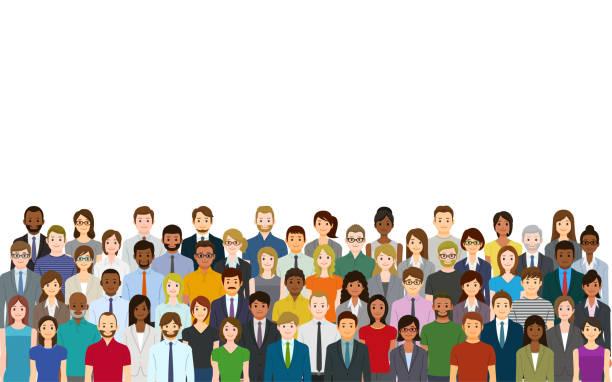 Eine Menschenmenge auf weißem Hintergrund – Vektorgrafik