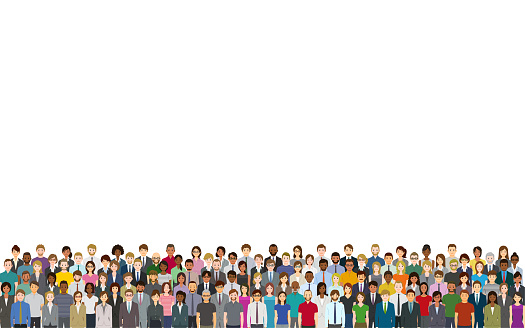 A crowd of people on a white background