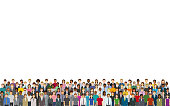 A crowd of people on a white background. Created with adobe illustrator.
