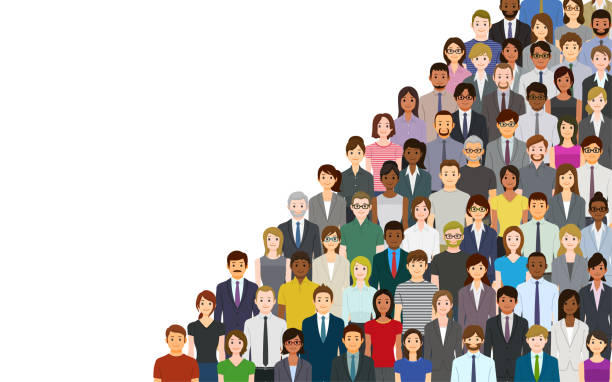 A crowd of people on a white background vector art illustration