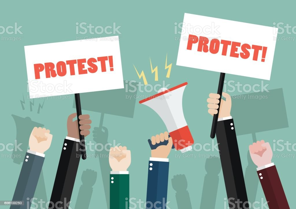 crowd of people protesters vector art illustration