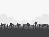 Crowd of people protests, silhouette. Revolution, protest, demonstration, riot, strike. Vector illustration, eps10.