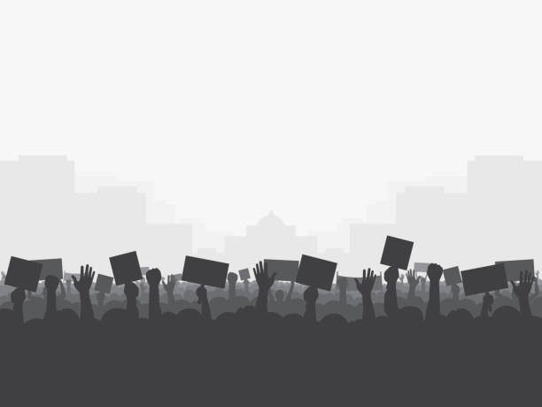 Crowd of people protests,silhouette. Crowd of people protests, silhouette. Revolution, protest, demonstration, riot, strike. Vector illustration, eps10. equality stock illustrations