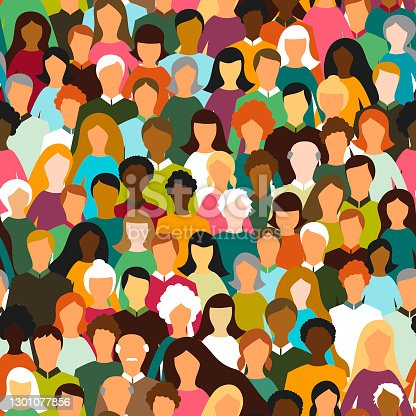 istock Crowd of people seamless pattern 1301077856