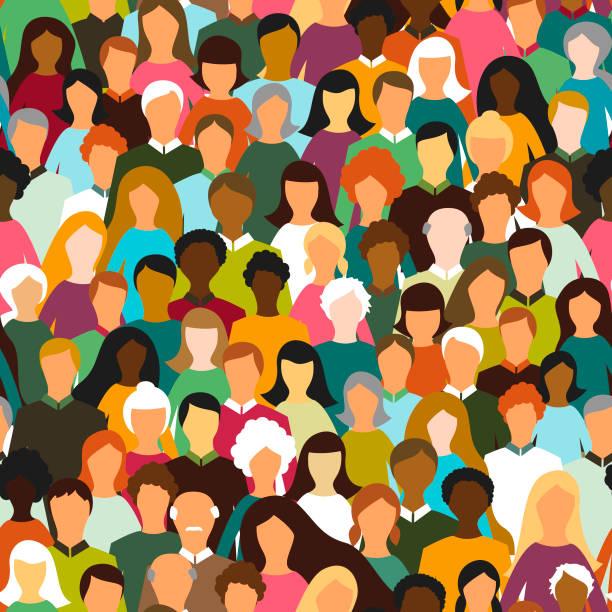 Crowd of people seamless pattern vector art illustration