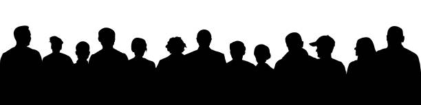 Crowd of people silhouette. Large audience anonymous faces. Meeting demonstrators. Human heads, vector illustration Crowd of people silhouette. Large audience anonymous faces. Meeting demonstrators. Human heads, vector illustration watching stock illustrations