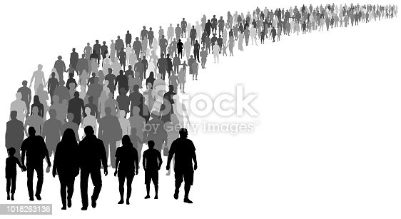 Crowd of people silhouette vector. Resettlement of refugees, emigrants. A lot of walking people
