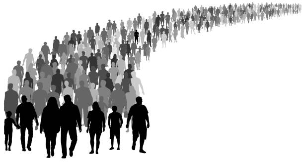 Crowd of people silhouette vector. Resettlement of refugees, emigrants. A lot of walking people Crowd of people silhouette vector. Resettlement of refugees, emigrants. A lot of walking people crowd of people stock illustrations