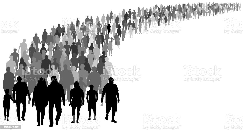 Crowd of people silhouette vector. Resettlement of refugees, emigrants. A lot of walking people vector art illustration