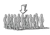 Hand-drawn vector drawing of a Crowd Of People, an Arrow shows The Chosen One. Black-and-White sketch on a transparent background (.eps-file). Included files are EPS (v10) and Hi-Res JPG.