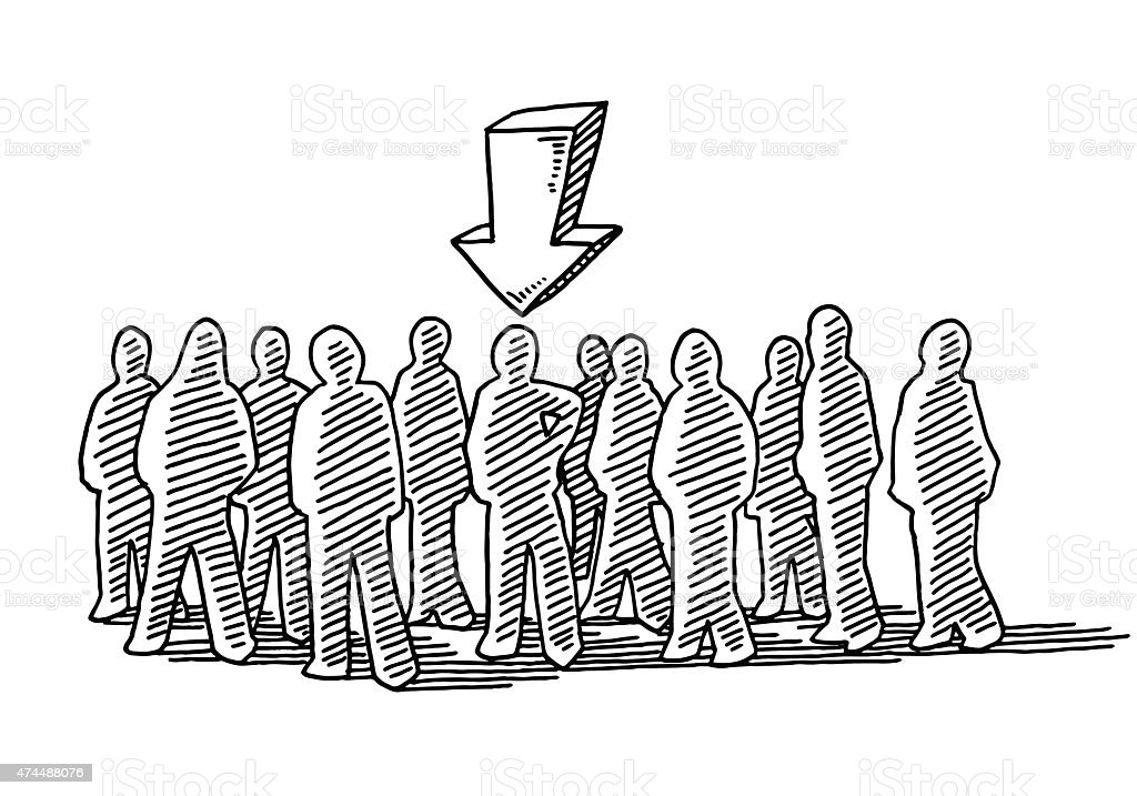 Crowd Of People The Chosen One Drawing vector art illustration