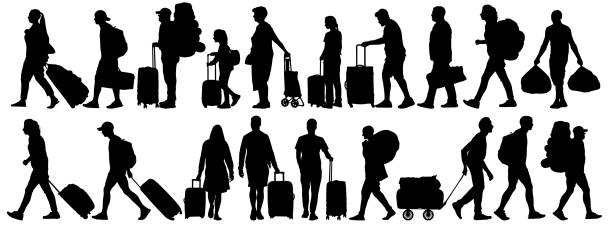 Crowd of people tourists. People with suitcases bags and backpacks. Migration of people. Vector silhouette isolated set Crowd of people tourists. People with suitcases bags and backpacks. Migration of people. Vector silhouette isolated set airport silhouettes stock illustrations
