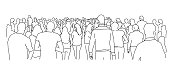 Crowd of people. Line drawing vector illustration.