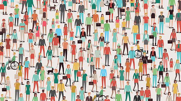 Crowd of people vector art illustration