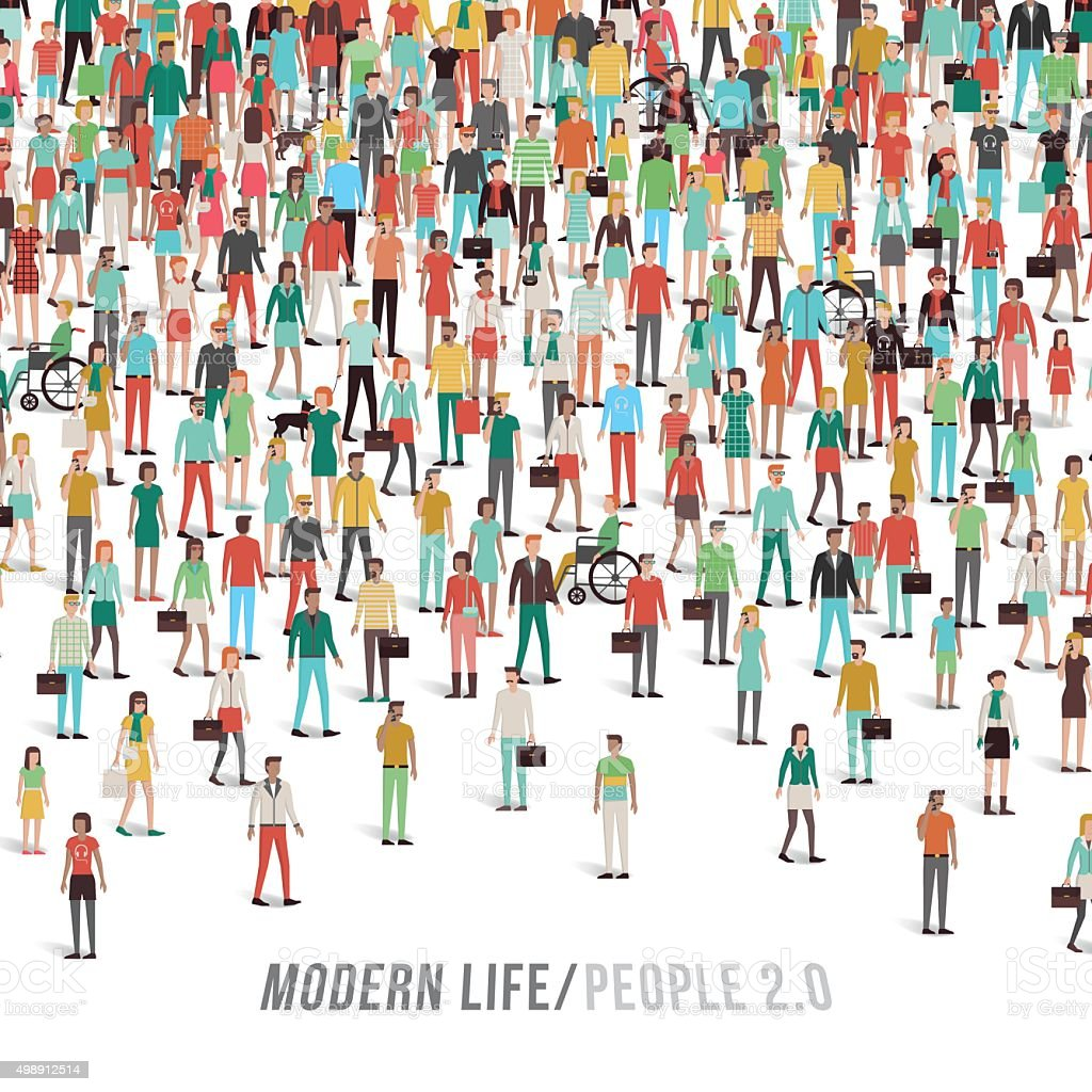 Crowd of people vector art illustration