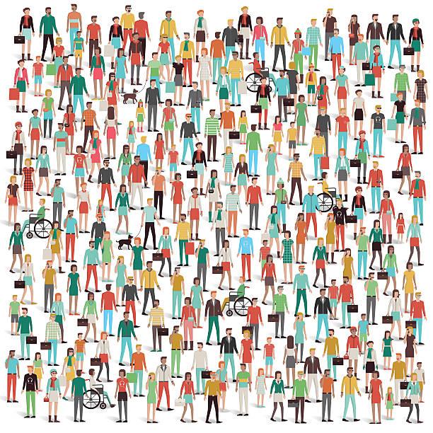 stockillustraties, clipart, cartoons en iconen met crowd of people - grote groep mensen