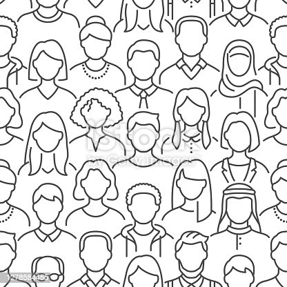istock Crowd of people vector seamless pattern. Monochrome background with diverse unrecognizable business men, woman line icons. Black white color illustration 1278584455