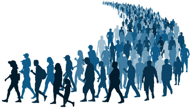 Crowd of people waiting in line vector silhouette isolated on white background Crowd of people waiting in line vector silhouette isolated on white background crowd of people stock illustrations