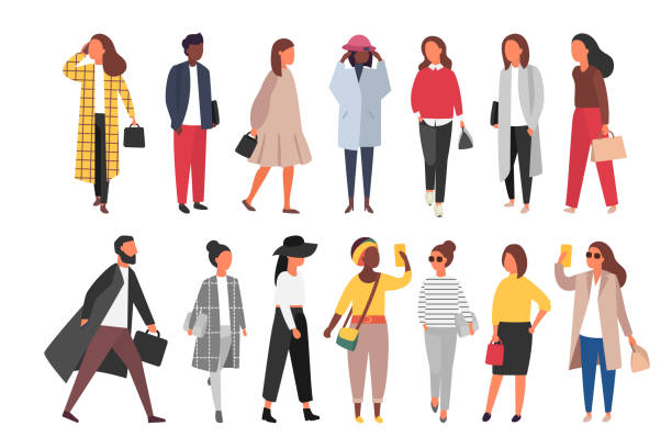 Crowd of people walking in autumn clothes. Vector illustration Man and woman characters in autumn outwear clothes. Crowd of cartoon people outside on the streets. Vector flat illustration cartoon people stock illustrations