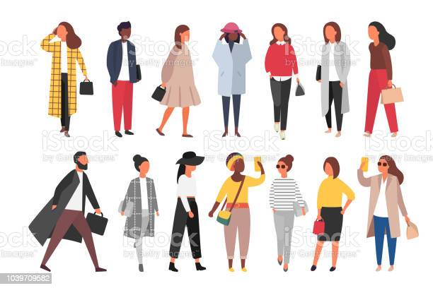 Crowd Of People Walking In Autumn Clothes Vector Illustration - Arte vetorial de stock e mais imagens de Adulto