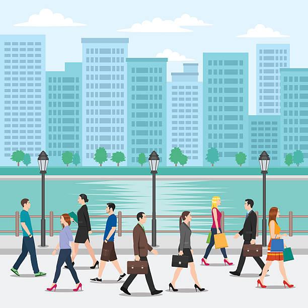 群衆の人々が歩く路上の街並みを背景に - 通勤点のイラスト素材/クリップアート素材/マンガ素材/アイコン素材