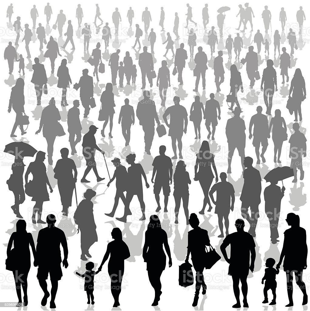 Crowd of people walking vector art illustration