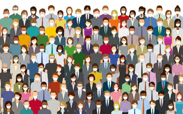 Crowd of people wearing a face mask Crowd of people wearing a face mask . Created with adobe illustrator. crowd of people stock illustrations