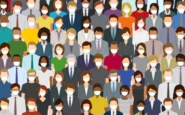 Crowd of people wearing a face mask vector art illustration
