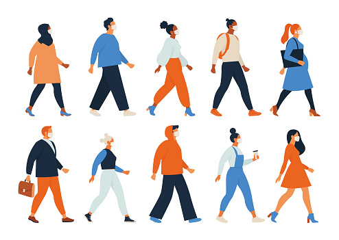 Crowd of people wearing face masks. Men, women, teens use virus preventive measures. Infected persons among healthy. Coronavirus pandemic, epidemic disease. Colorful illustration in flat cartoon style