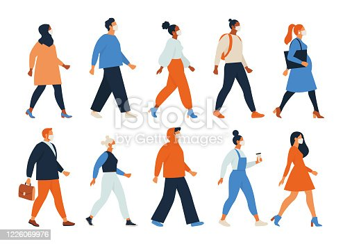 istock Crowd of people wearing face masks. Men, women, teens use virus preventive measures. Infected persons among healthy. Coronavirus pandemic, epidemic disease. Colorful illustration in flat cartoon style 1226069976