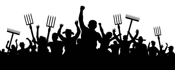 crowd of people with a pitchfork shovel rake. angry peasants protest demonstration. riot workers vector silhouette - anger stock illustrations