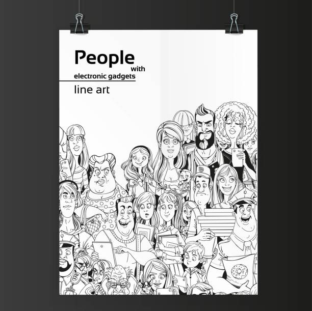 Crowd of people with electronic gadgets line art on white paper Crowd of people with electronic gadgets line art on white paper hanging on two binders police meeting stock illustrations