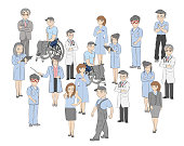 Crowd of people with few individuals highlighted, individuality and diversity concept. vector illustration