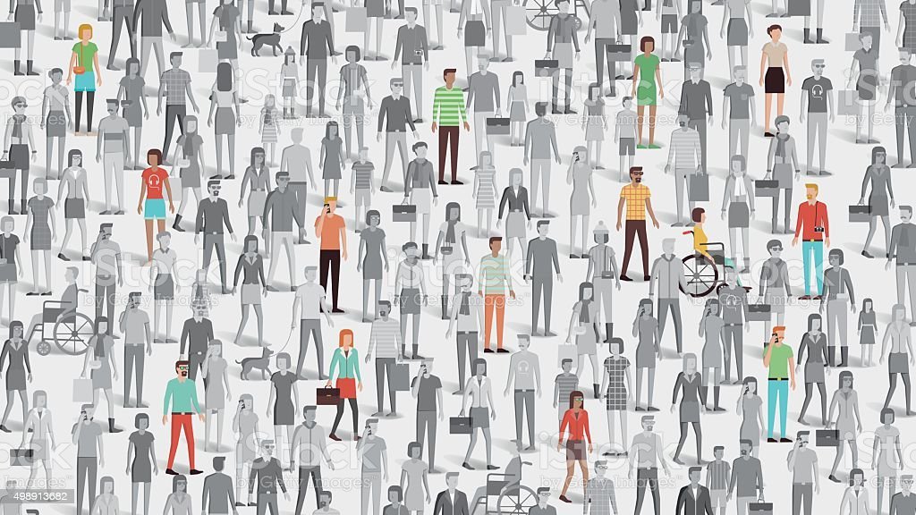 Crowd of people with few individuals highlighted vector art illustration
