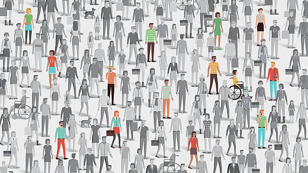 stockillustraties, clipart, cartoons en iconen met crowd of people with few individuals highlighted - grote groep mensen