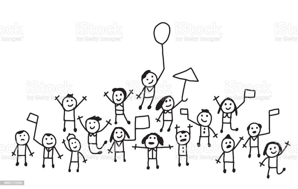 Foule de gens avec des drapeaux et ballons acclamations - Illustration vectorielle