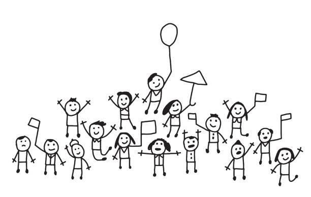 Crowd of people with flags and balloons cheering vector art illustration