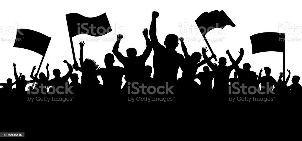 Crowd of people with flags, banners. Sports, mob, fans. Demonstration, manifestation, protest, strike, revolution. Silhouette background vector vector art illustration