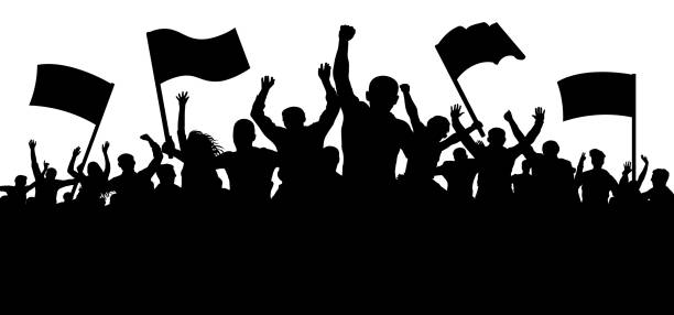 Crowd of people with flags, banners. Sports, mob, fans. Demonstration, manifestation, protest, strike, revolution. Silhouette background vector Crowd of people with flags, banners. Sports, mob, fans. Demonstration, manifestation, protest, strike, revolution. Silhouette background vector watching stock illustrations
