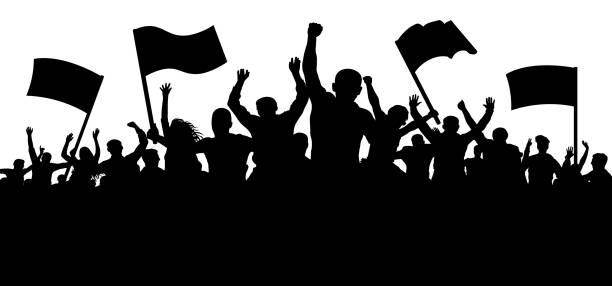 stockillustraties, clipart, cartoons en iconen met menigte van mensen met vlaggen, banners. sport, mob, fans. demonstratie, manifestatie, protest, staking, revolutie. silhouet achtergrond vector - cheering