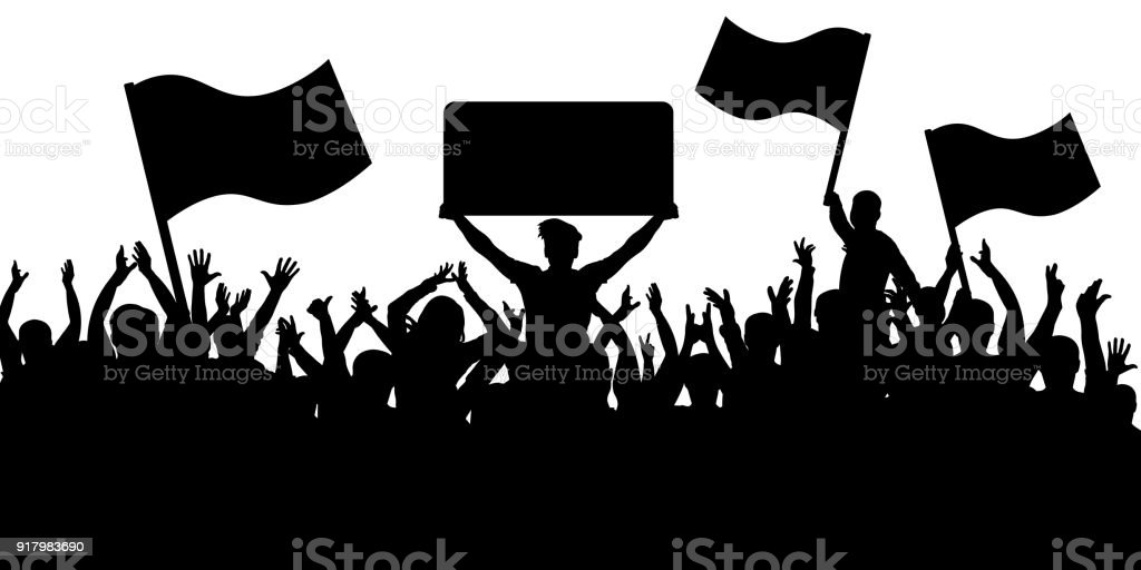 Crowd of people with flags silhouette background. Sports fans. vector art illustration
