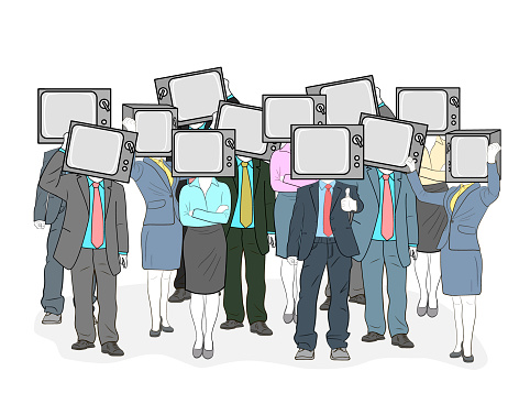 crowd of people with tvs on their heads. the impact of mass information on people. zombies. people who do not have their own point of view. vector illustration.